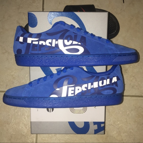 b5cde656246 Puma Suede Classic x Pepsi Collab Blue Shoes